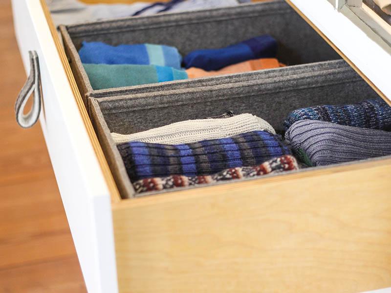 wohnen schubladeneinsatz oder regalbox aus filz nach ma. Black Bedroom Furniture Sets. Home Design Ideas