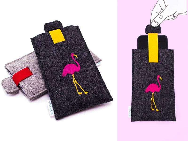 Handytasche Auf Maß Aus Filz Motiv Flamingo