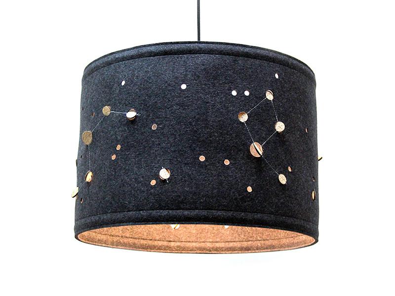 lampen lampe aus filz mit sternenbilder. Black Bedroom Furniture Sets. Home Design Ideas