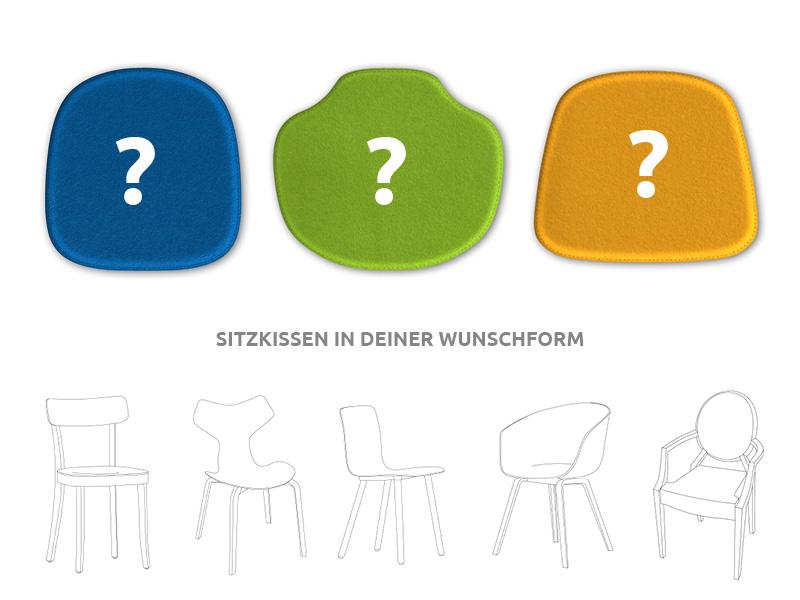 sitzkissen f r designerst hle sitzkissen aus filz mit deiner wunschform. Black Bedroom Furniture Sets. Home Design Ideas