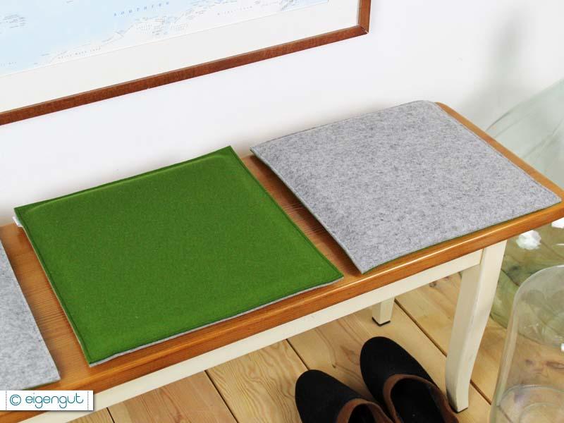 sitzkissen eckiges sitzkissen aus filz mit wunschtext. Black Bedroom Furniture Sets. Home Design Ideas