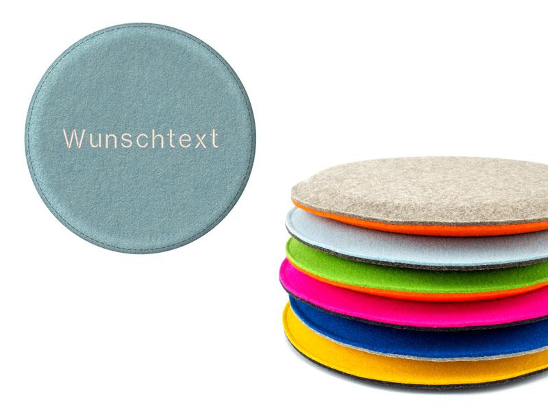 sitzkissen rundes sitzkissen aus filz mit wunschtext. Black Bedroom Furniture Sets. Home Design Ideas