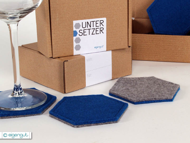 gedeckter tisch untersetzer hexa aus filz 4er set. Black Bedroom Furniture Sets. Home Design Ideas