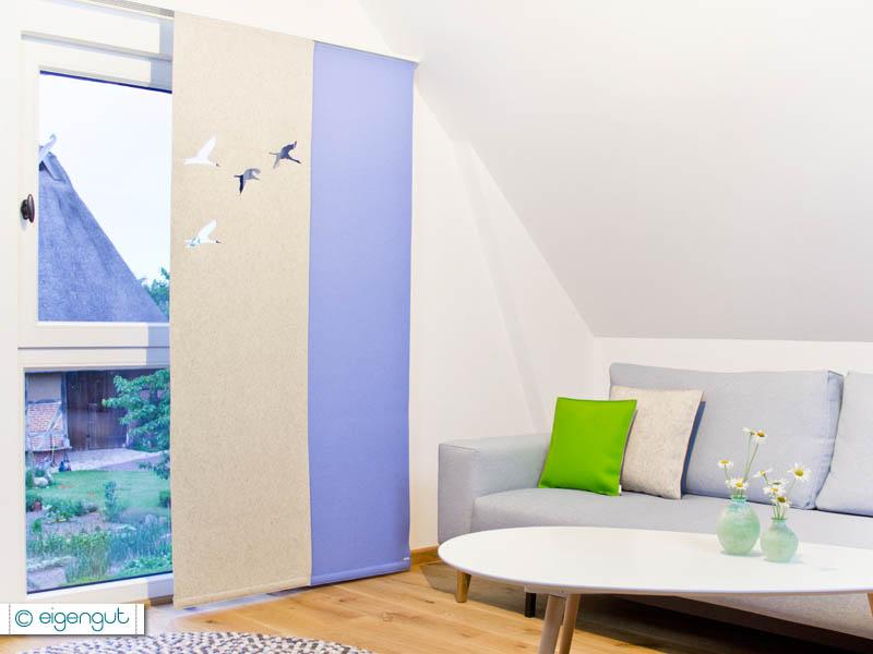 vorh nge vorhang aus filz kraniche. Black Bedroom Furniture Sets. Home Design Ideas