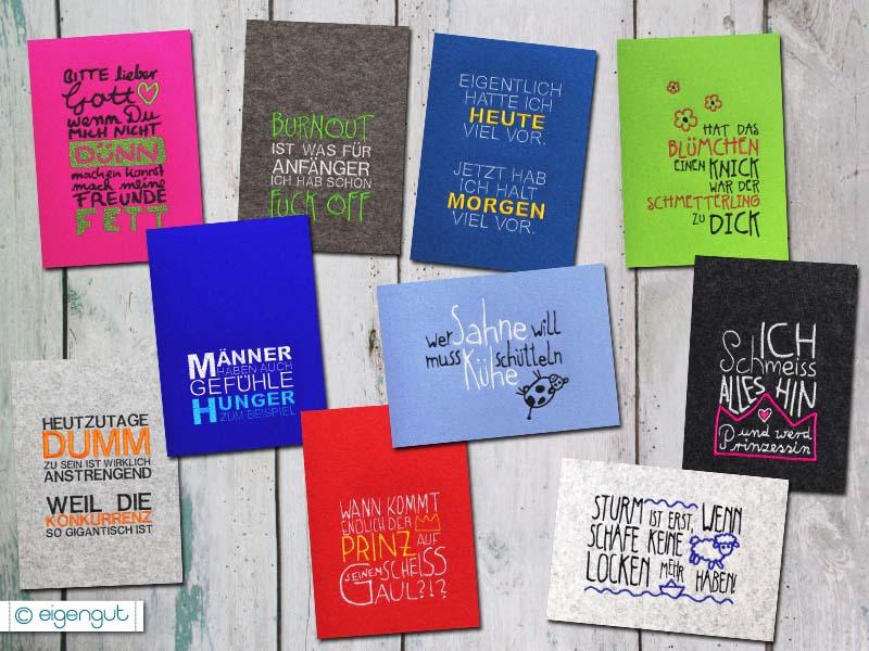 postkartenset sprüche Postkarten: Postkarte Set 1 mit Sprüchen in Filz Optik postkartenset sprüche