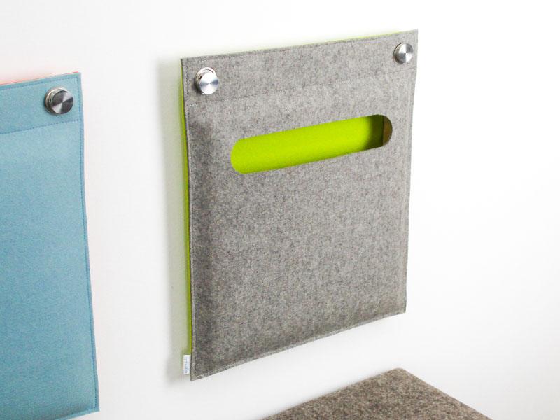 wandkissen wandtasche aus filz aufbewahrung f r zeitungen. Black Bedroom Furniture Sets. Home Design Ideas