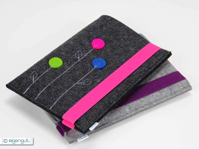 ereader tablettaschen ereader oder tablettasche aus filz dots blumen. Black Bedroom Furniture Sets. Home Design Ideas