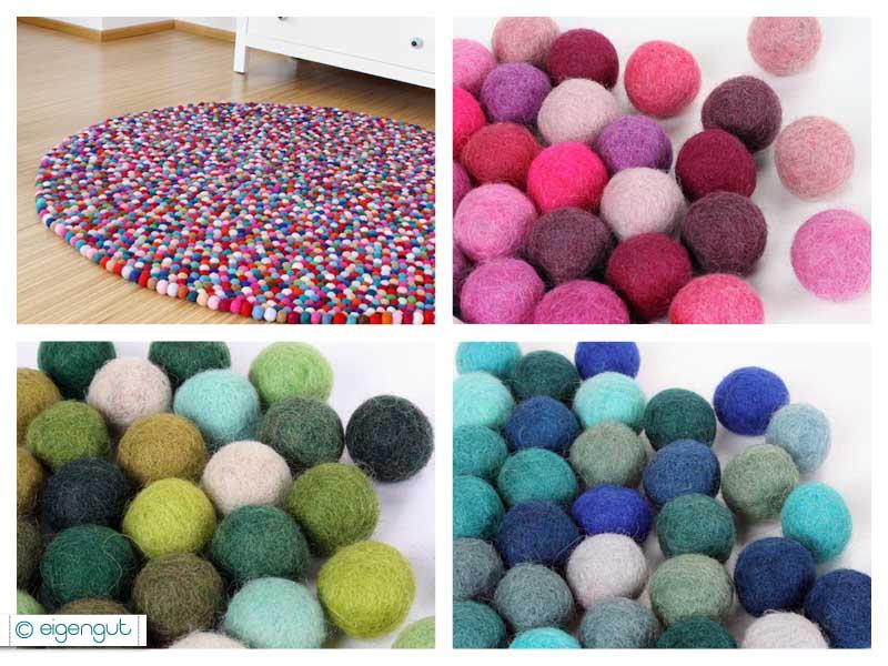 Teppiche  Filzteppich aus hunderten, bunten Filzkugeln