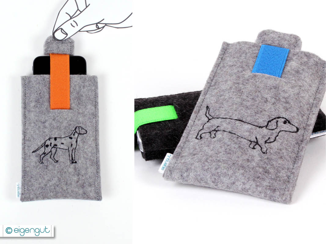 handytaschen handytasche hunde mit gummizuglasche. Black Bedroom Furniture Sets. Home Design Ideas