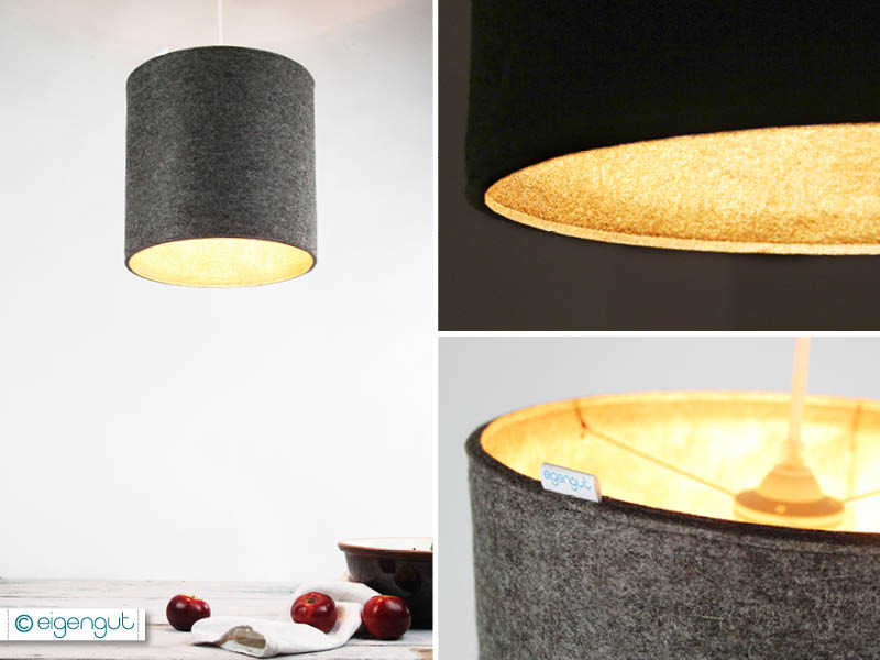 lampen pendelleuchte aus reinem wollfilz gold metallic. Black Bedroom Furniture Sets. Home Design Ideas