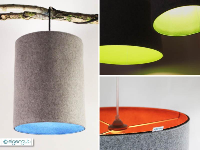 lampen pendelleuchte lampe aus filz zweifarbig. Black Bedroom Furniture Sets. Home Design Ideas