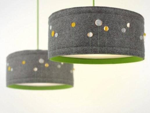 wohnen lampe aus filz mit g nsebl mchen. Black Bedroom Furniture Sets. Home Design Ideas
