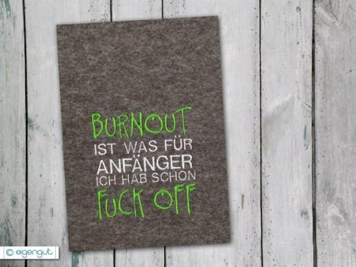 papeterie postkarte mit spruch burnout f r anf nger. Black Bedroom Furniture Sets. Home Design Ideas