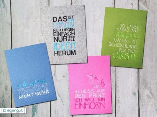 postkarten postkarte set 2 mit spr chen in filz optik. Black Bedroom Furniture Sets. Home Design Ideas