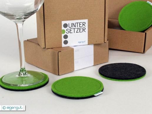 gedeckter tisch untersetzer rund aus filz 4er set. Black Bedroom Furniture Sets. Home Design Ideas