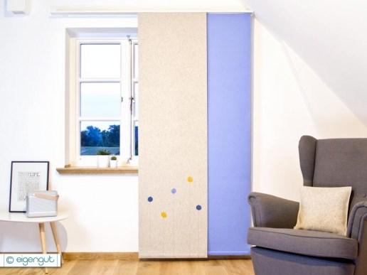 vorh nge vorhang aus filz mit dots blumen nach ma. Black Bedroom Furniture Sets. Home Design Ideas