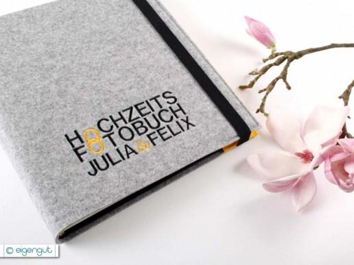 Hochzeit hochzeitsfotobuch mit namen bestickt for Fotoalbum hochzeit selber machen