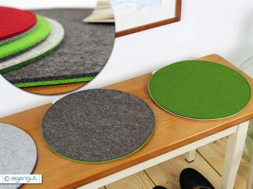 wohnen rundes sitzkissen aus filz ungef ttert. Black Bedroom Furniture Sets. Home Design Ideas