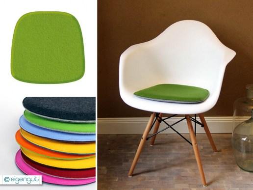 sitzkissen f r designerst hle sitzkissen gepolstert aus wollfilz passend f r eames armchair. Black Bedroom Furniture Sets. Home Design Ideas