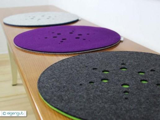 sitzkissen rundes sitzkissen aus filz mit muster. Black Bedroom Furniture Sets. Home Design Ideas