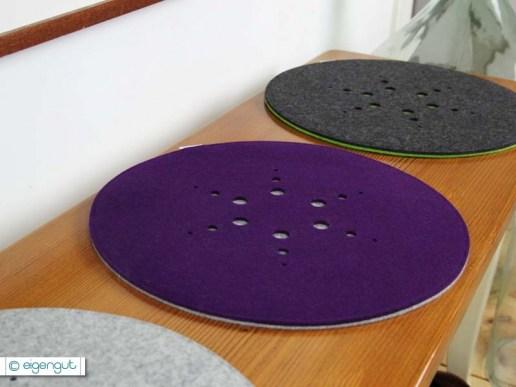 wohnen rundes sitzkissen aus filz mit muster. Black Bedroom Furniture Sets. Home Design Ideas