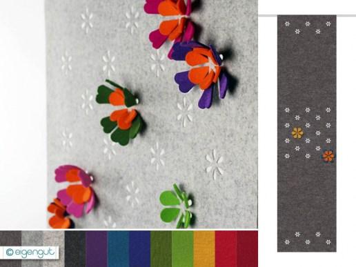 vorh nge vorhang aus filz mit steckblumen. Black Bedroom Furniture Sets. Home Design Ideas