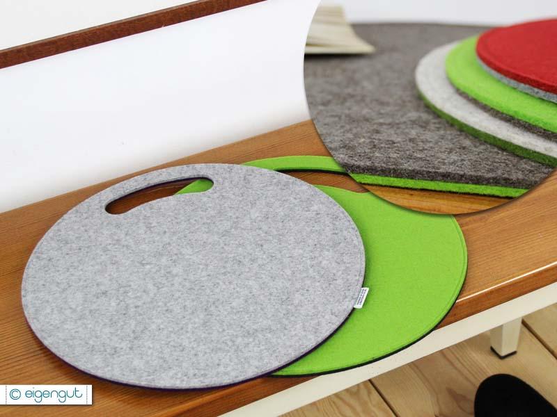 sitzkissen rundes sitzkissen aus filz mit griff. Black Bedroom Furniture Sets. Home Design Ideas