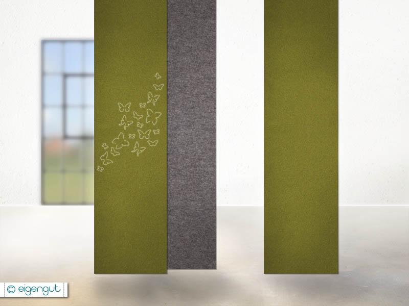vorh nge vorhang aus filz mit schmetterlingen nach ma. Black Bedroom Furniture Sets. Home Design Ideas