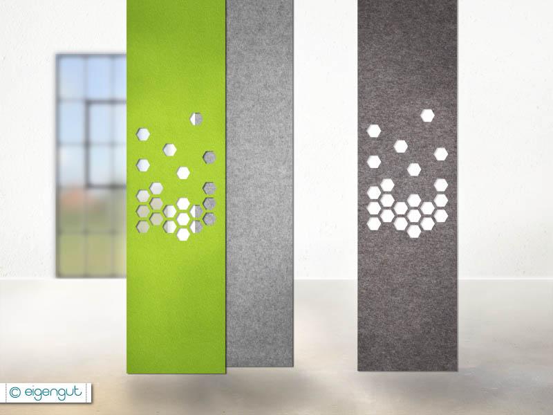 vorh nge vorhang aus filz waben. Black Bedroom Furniture Sets. Home Design Ideas